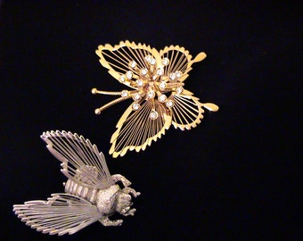 Vintage Monet Brooches Silver Bee and Gold Rhinestone Butterfly