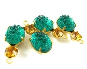 2 - Vintage Bumpy Stones in 1 Ring 2 Stones Brass Prong Settings Set Stones - Emerald & Topaz - 18x8mm