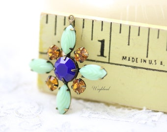 Starburst Pendant with Vintage Stones in Antique Brass Setting - Mint Green , Navy & Topaz Swarovski - 30mm - S55 .
