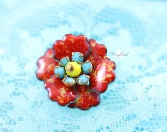 Vintage Multilayer Enamel Rhinestone Flower Red Orange Specks Yellow Turquoise Swarovski Crystal Czech Bead