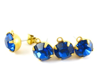 2 pcs - Gold Plated Preciosa Crystal Earring Posts with Loop Rhinestone Ear Studs Earring Finding Round 8mm - Capri Blue .