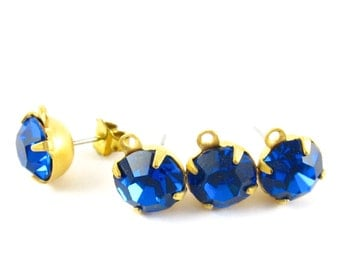 2 pcs - Gold Plated Preciosa Crystal Earring Posts with Loop Rhinestone Ear Studs Earring Finding Round 8mm - Capri Blue