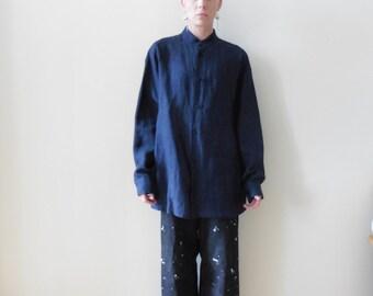 Eskandar Blue Linen Shirt