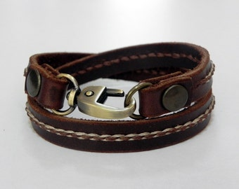 Wrap Leather Bracelet with Metal Alloy Clasp Hand Stitched in Brown color