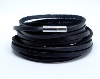 Multi Wrap Bracelet Leather Wrap Bracelet Leather Bracelet in Black Color with Stainless Pin Clasp