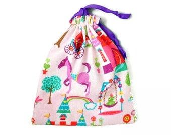 Pink Princess Bag Glitter Drawstring Pouch Girls Purse Princess Castle Pastel Fairy Tale Bag Sweet Lolita Fairy Kei Pouch