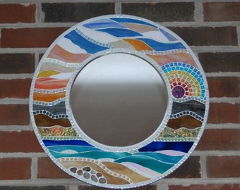"""Mirror, Round, Stained Glass Mosaic 18"""""""