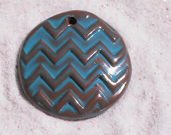 Large chevron clay pendant