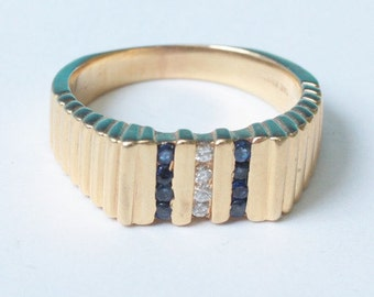 CIJ Sale 14K Gold Sapphire and Diamond Ring Modernist Design Size 6.25