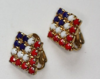 CIJ Sale Red White and Blue Faceted Bead Clip Earrings Vintage