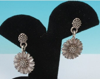 CIJ Sale Sunflower Dangle Earrings Posts Signed Vintage Silver Tone