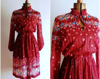 Vintage Maroon Floral Sheer Secretary Dress