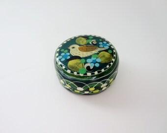 Vintage Folk Art Trinket Box  - Green Papier Mache Jewelry Trinket box with Bird Flower Motif - Made in  Tonala Jalisco Mexico by SerMel