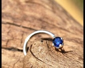 Sapphire Nose Stud / Sterling Nose Ring / Blue Nose Jewelry / Unique Nose Bones / Tiny Nose Stud / Little Gemstone Nose Ring / - CUSTOMIZE