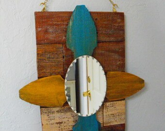 Rustic Mirrored Wall Hanging