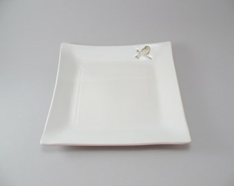 Serving Plate - Stoneware Platter - Square Plate - White Pottery - Bird Pottery