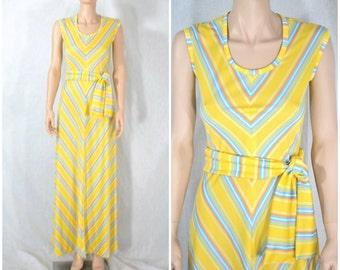70s Vintage Maxi Dress Chevron Striped Jersey Knit Dress - extra small
