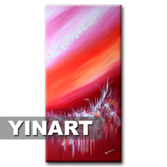 "Landscape painting Tropical Island 24""x48"" - Pink Rose Garden Art"
