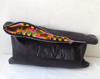 large leather clutch, recycled leather clutch, chocolate brown, large leather pouch, leather man bag, oversized pouch, ipad, kindle, tablet
