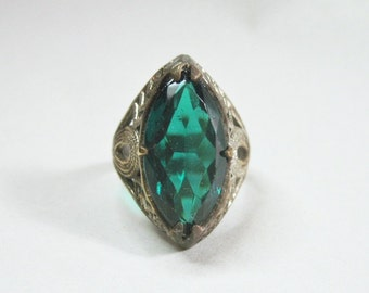 Antique Art Deco Ring - Filigree - Silver Tone - Deep Teal Glass Stone - Size 4.5 - 1920s - Cocktail Ring
