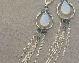 Opaline, Blue London Quartz Chandelier Long Earrings, Bridal Jewelry, Fashion Jewelry, Weddings, Bridal Shop, Silver Earrings, Gift for Wife