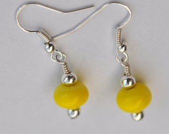 Bright Yellow Lampwork Glass Dangle Earrings