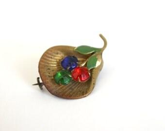 Vintage Czech Rhinestone Pin Flowers in Shell Art Deco Costume Jewelry