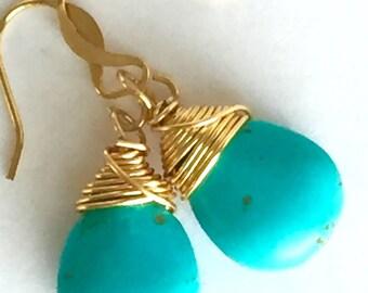 Turquoise Teardrop Stone Dangle Earrings, Wire Wrapped Aqua Turquoise Earrings, Gold