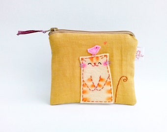 Cat coin purse, Cute zipper pouch, Zipper coin bag, Card wallet, Change pouch, Cable organizer, Gadget Bag, Girls Pouch - Cat Lover Gifts