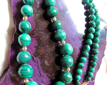 Vintage Malachite 14Kt G.F. Beaded Necklace Earthy Healing Greens Wedding/ Anniversary/Birthday