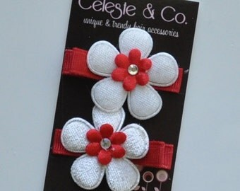 Hair Bow Clips - Precious Pair - Red and White Flowers - Alligator Clips - Newborns, babies, Infants, Toddlers and Girls