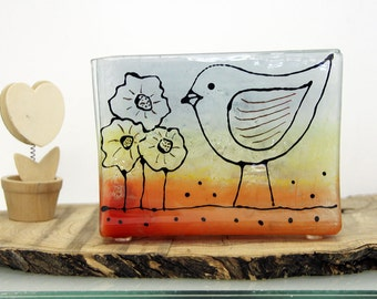 Napkin holder Fused Glass  birds Design, Earth ton colors landscape, letter holder, memo holder