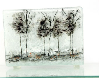 Napkin holder, brigh Fused glass black trees, white landscape , House warming gift, Hostess gift, Interior Design
