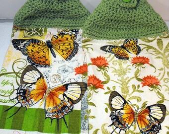2 PC Kitchen Towel Set Green Crochet Tops Butterflies - Lifes Simple Pleasures