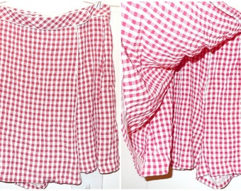 VTG 80s Gingham Skort High Waisted Tennis Shorts Red White Checked Pattern Wide Leg Short Skirt Sailor Tap Shorts Summer Ditsy