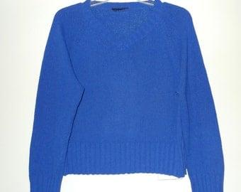 KLine Blue Cotton Blend Knit Sweater Vintage 1980s VNeck Pullover Cropped Boxy Fit Avant Garde New Wave Yves Klein