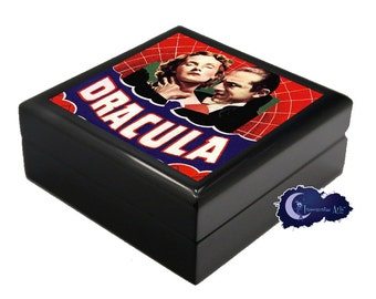 Dracula, Vintage Horror Movie Poster- Jewelry and Keepsake Box