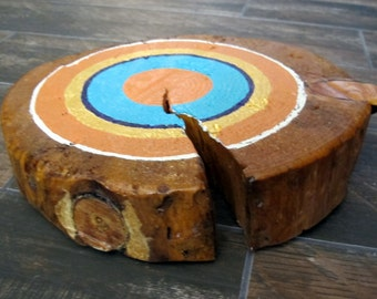 Mid-Century Modern Inspired Hand Painted Tree Ring Painting Wood Slice Artwork - Wall Hanging or Table Top Orange Turquoise Purple Gold