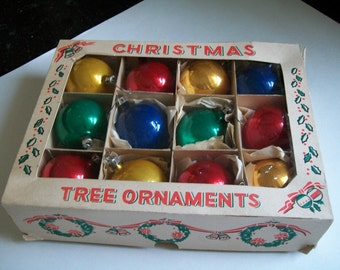 Vintage Christmas Balls in box Poland Solid Color Christmas Tree Ornaments