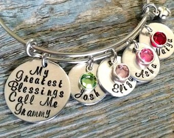 Personalized Grandma Bracelet-Wire Bangle-My Greatest Blessings Call Me Mom-Grandma-Expandable Bracelet-Hand Stamped Jewelry-Grandma Gift