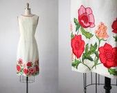 sun garden dress / linen shift dress / 60s dress