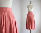 blush linen midi skirt