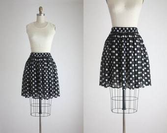 polka dot chiffon mini skirt