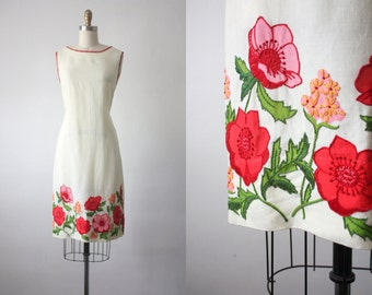 sun garden dress / linen shift dress / 60s dress