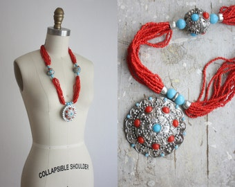 bohemian bead necklace / vintage multistrand necklace