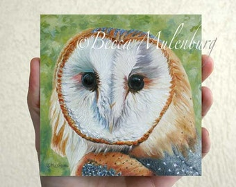 Barn Owl painting Original oil nature wildlife miniature birds of prey raptor fine art