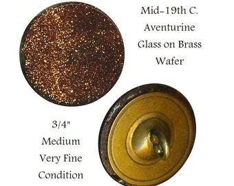 Button--Medium Size 19th C. Flashy Aventurine Glass Wafer on Brass