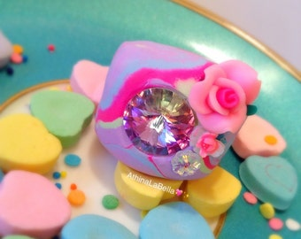 Let Them Eat Cake Ring - Marie Antoinette Jewelry - Crystal Ring - Wedding Cake - Flower Ring - Pastel Jewelry - Clay ring - Marble Ring