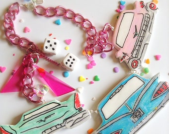Retro 50s Necklace, Pin up Jewelry, RockabillyJewelry, Rockabilly, Kitsch Necklace, Pastel Jewelry, Classic Cars, Plastic Jewelry