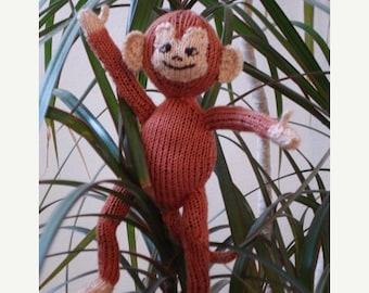 HALF PRICE SALE Instant Digital pdf file Knitting Pattern -Sam the Cross-Eyed Spider Monkey toy animal pdf download knitting pattern